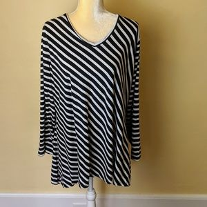 Anne Klein Long Sleeve Striped Tunic Top